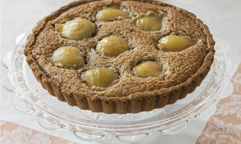 Walnut and Poached Pear tart